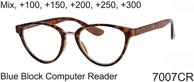 7007CR - Wholesale Blue Light Blocking Cat Eye Frame Computer Reading Glasses