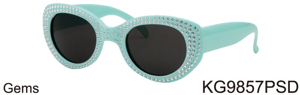 KG9857PSD - Wholesale Kids Round Sunglasses with Gems