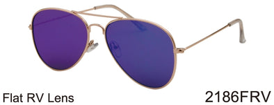 2186FRV - Wholesale Ultra Flat Lens Aviator Color Mirror Sunglasses in Gold
