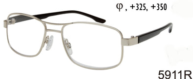 5911R - Wholesale Men's Navigator Style Metal Rectangular Reading Glasses in Silver