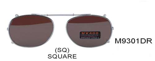 M9301DR - Wholesale Spring Clip On/Medium Square 59mm Sunglasses