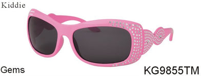 KG9855TM - Wholesale Kids Oval Sunglasses with Gems Design