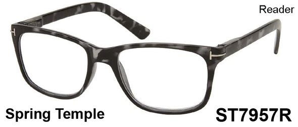 ST7957R - Wholesale Men's Rectangular Reading Glasses in Grey Tortoise