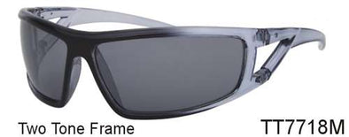 TT7718M - Wholesale Two Tone Sport Sunglasses in Clear Gray
