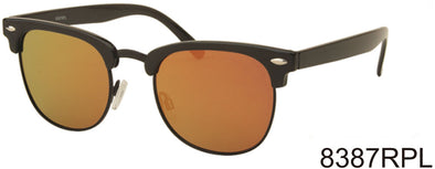 8387RPL - Clubmaster Style Polarized Colored Mirror Sunglasses