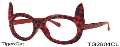 TG2804CL - Wholesale Tiger/Cat Party Glasses with Clear Lens