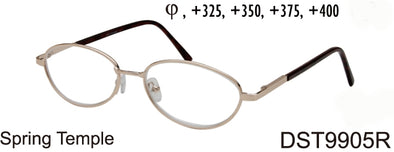 DST9905R - Wholesale Unisex Oval Style Metal Reading Glasses in Silver
