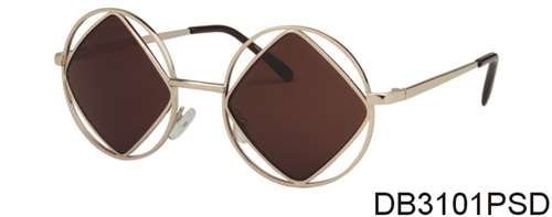DB3101PSD - Wholesale Square and Circle Frame Sunglasses in Gold