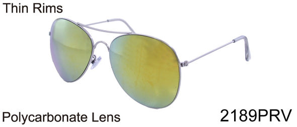 2189PRV - Wholesale Aviator Thin Rim Color Mirror Sunglasses in Silver