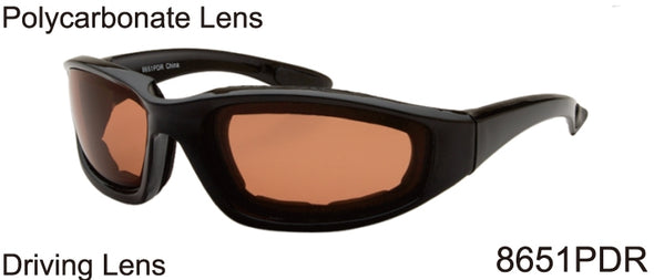 8651PDR - Wholesale Cushioned Biker Style Sunglasses in Black