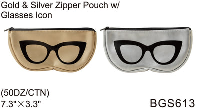 BGS613 - Wholesale Fashion Eyewear Zipper Pouch in Silver and Gold