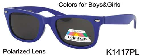 K1417PL - Wholesale Kid's Unisex Classic Polarized Sunglasses in Blue