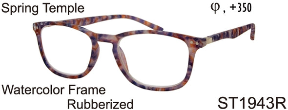 ST1943R - Wholesale Rubberized Watercolor Pattern Reading Glasses in Tortoise