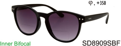 SD8909SBF - Wholesale Classic Round Style BiFocal Reading Sunglasses in Black