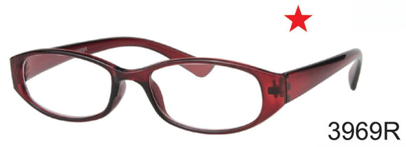3969R - Wholesale Ultra Bargain Unisex Rectangular Reading Glasses in Red