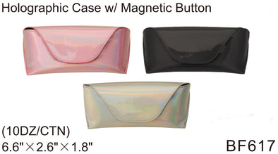 BF617 - Wholesale Eyewear Holographic Cases with Magnetic Button Closure