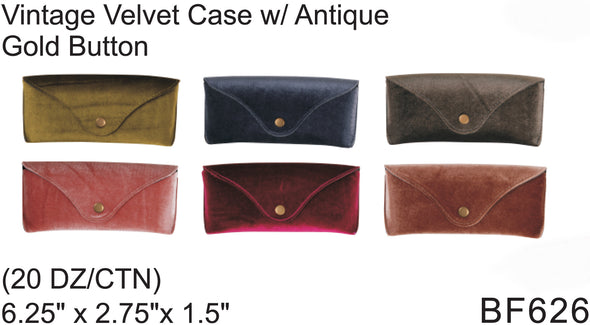 BF626 - Wholesale Eyewear Velvet Cases with Antique Gold Button