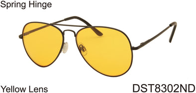 DST8302ND -  Wholesale Aviator Style Night Driving Glasses in Black