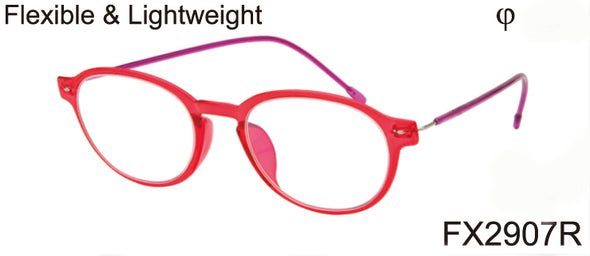 FX2907R - Women's Wholesale Flexible & Lightweight Reading Glasses in Red