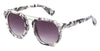 MB1616FSD - Wholesale Women's Marble Framed Flat Lens Sunglasses in White