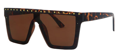 SD1694SD - Wholesale Women's Flat Top Shield with Studs Fashion Sunglasses