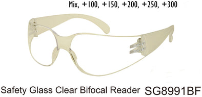 SG8991BF - Wholesale Safety Glasses with Clear Bi-Focal Reading Lens