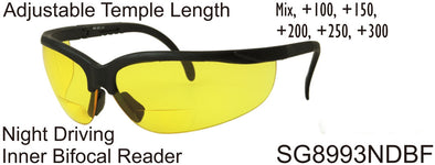 SG8993NDBF - Wholesale Night Driving Safety Glasses with Inner Bi-Focal Reading Lens