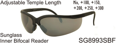 SG8993SBF - Wholesale Sunglass Safety Glasses with Inner Bi-Focal Reading Lens