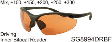 SG8994DRBF - Wholesale Driving Lens Safety Glasses wit Bi-Focal Reading Lens
