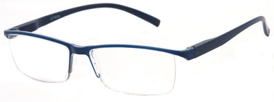ST1903R -  Wholesale One Piece Design Half Rim Unisex Reading Glasses in Blue