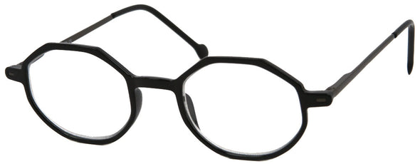 ST1904R - Wholesale Octogon Style Unisex Metal Reading Glasses in Black