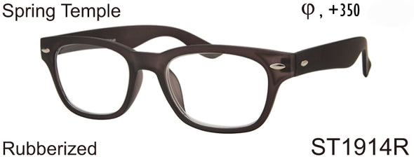 ST1914R - Wholesale Unisex Rubberized Rectangular Reading Glasses in Brown