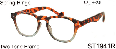 ST1941R - Wholesale Two Tone Square Keyhole Reading Glasses in Tortoise