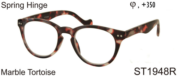 ST1948R - Wholesale Keyhole Style Marble Framed Unisex Reading Glasses in Tortoise