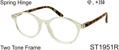 ST1951R - Wholesale Two Tone Unisex Round Reading Glasses in Translucent Clear