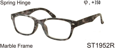 ST1952R - Wholesale Marble Pattern Square Shaped Unisex Reading Glasses in Grey