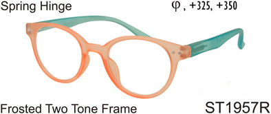 ST1957R - Wholesale Women's Frosted Two Tone Reading Glasses in Orange