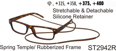 ST2942R - Wholesale Unisex Rubberized Frame Reading Glasses with Detachable Retainer in Tortoise