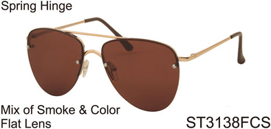 ST3138FCS - Wholesale Aviator Style Flat Lens Sunglasses in Gold