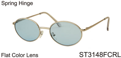 ST3148FCRL - Wholesale Oval Unisex Retro Sunglasses with Flat Colored Lens in Gold