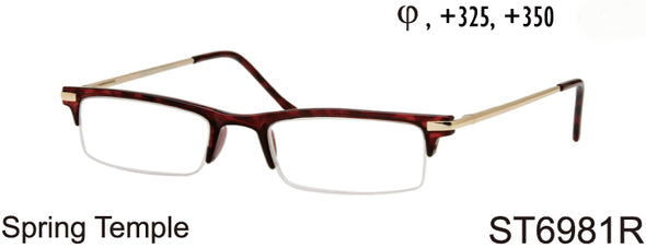 ST6981R - Wholesale Men's Plastic Half Rim Rectangular Reading Glasses