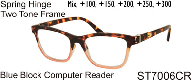 ST7006CR - Wholesale Blue Light Blocking Two Toned Frame Computer Reading Glasses