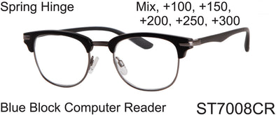 ST7008CR - Wholesale Blue Light Blocking Club Style Frame Computer Reading Glasses