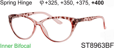 ST8963BF - Wholesale Women's Cat Eye Style Inner Bifocal Reading Glasses