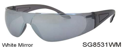 SG8531WM - Wholesale Safety Glasses with White Mirror Lens