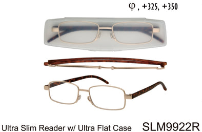 SLM9922R - Wholesale Ultra Slim Reading Glasses with Flat Case in Gold