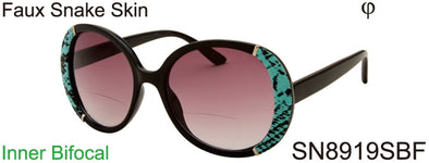 SN8919SBF - Wholesale Women's Big Round Style BiFocal Reading Sunglasses with Faux Snake Skin in Black