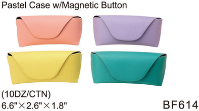 BF614 - Wholesale Eyewear Pastel Cases with Magnetic Button Closure in Pastel Colors