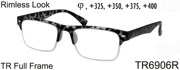 TR6906R - Wholesale Men's Rimless Reading Glasses made from TR-90 in Tortoise