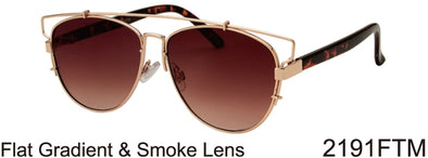 2191FTM - Wholesale Fashion Flat Top Sunglasses in Gold